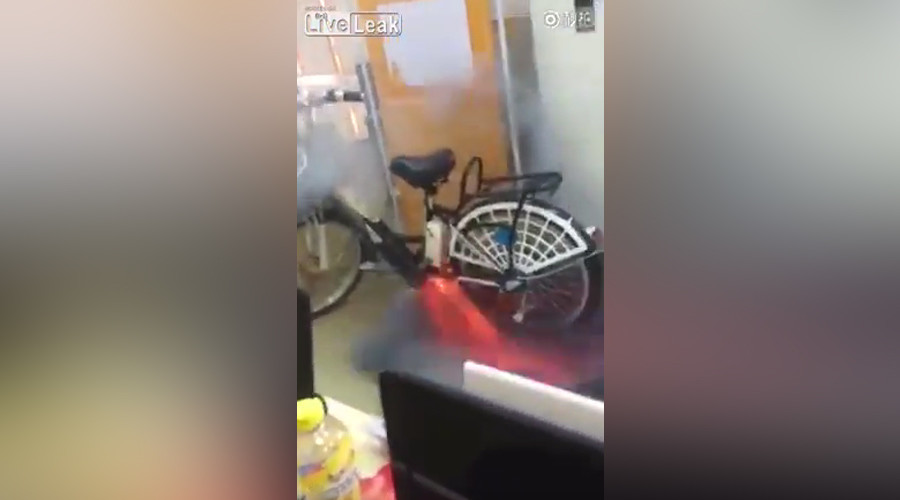 Hot wheels: Electric bike explodes in ball of flames (VIDEO)