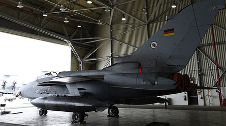 A German Tornado jet is pictured in a hangar at the air base in Incirlik, Turkey. © Tobias Schwarz