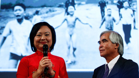 Photojournalist Nick Ut and Kim Phuc (L) attend the presentation of the latest Leica equipment at Photokina 2012, the world's largest fair for imaging, in Cologne © Ina Fassbender