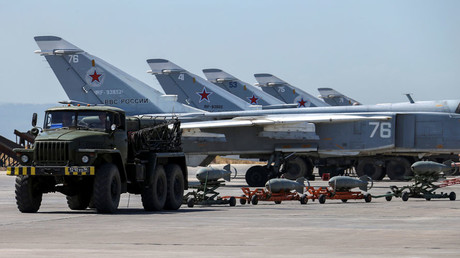 Russian military jets are seen at Hmeymim air base in Syria © Vadim Savitsky