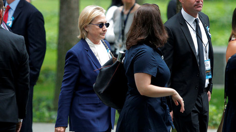 Democratic presidential candidate Hillary Clinton arrives for ceremonies to mark the 15th anniversary of the September 11 attacks at the National 9/11 Memorial in New York, September 11, 2016. © Brian Snyder