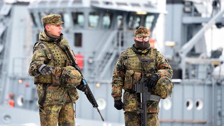 FILE PHOTO German army Bundeswehr soldiers patrol Naval Base Command in Kiel, Germany, © Fabian Bimmer