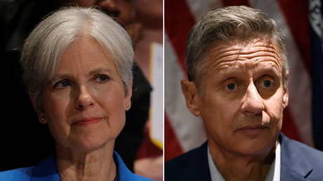 Green Party presidential candidate Jill Stein (L) and Libertarian presidential candidate Gary Johnson. © Reuters