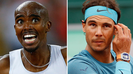 Mo Farah of Britain (L), Rafael Nadal of Spain (R) © Reuters