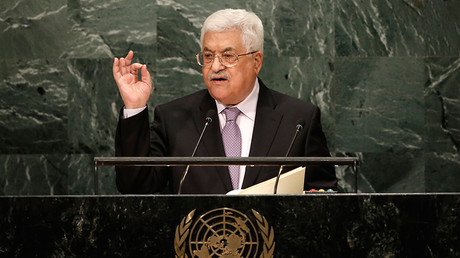 President Mahmoud Abbas of Palestine addresses the 71st United Nations General Assembly in Manhattan, New York, U.S. September 22, 2016 © Mike Segar