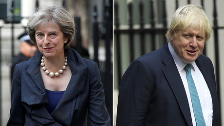Britain's Prime Minister Theresa May (L), British Foreign Secretary Boris Johnson. © Reuters