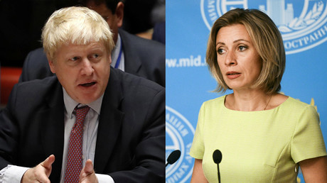 British Foreign Secretary Boris Johnson and Russian Foreign Ministry's spokesperson Maria Zakharova © Reuters / Sputnik