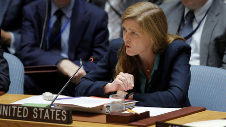 U.S. Ambassador to the United Nations Samantha Power addresses the United Nation Security Council a during a high level meeting on Syria, at the United Nations in Manhattan, New York, U.S. © Andrew Kelly