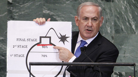Israel's Prime Minister Benjamin Netanyahu points to a red line he has drawn on the graphic of a bomb as he addresses the 67th United Nations General Assembly at the U.N. Headquarters in New York, September 27, 2012 © Lucas Jackson