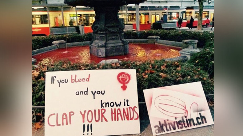 Tampon tax protest turns Zurich fountains 'blood' red