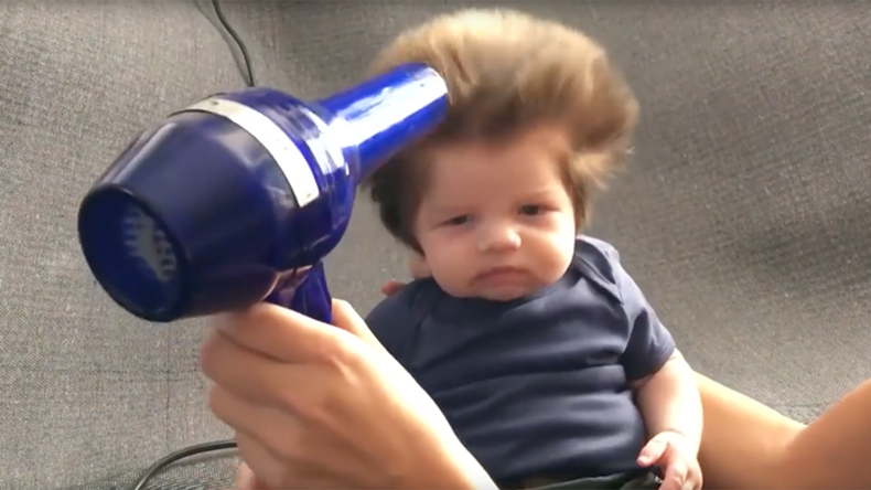 Baby's insanely fluffy bouffant hair breaks the internet (VIDEO)