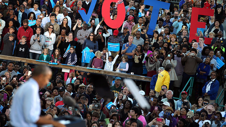 Obama interrupted multiple times at Clinton campaign rally in North Carolina (VIDEO)