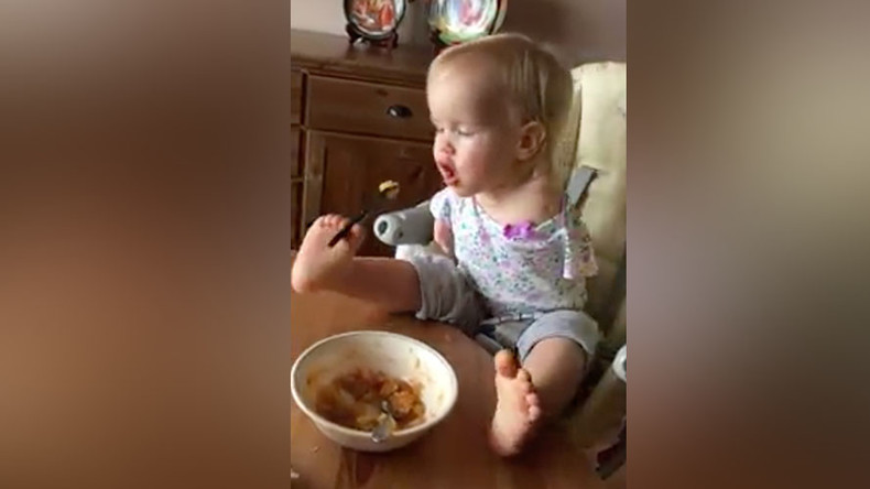 'Where there's a will': Girl born without arms feeds herself by using her feet (VIDEO)