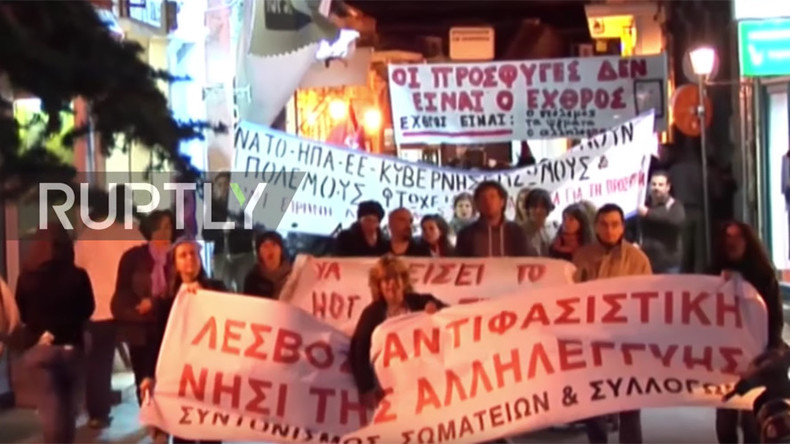 Hundreds of Lesbos residents & refugees march against EU border policy (VIDEO)