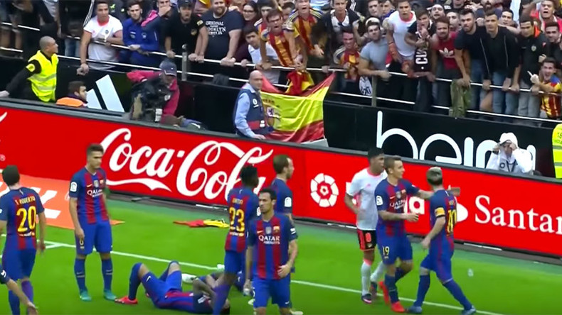 Barcelona players hit with missile by rival fans in La Liga win (VIDEO)
