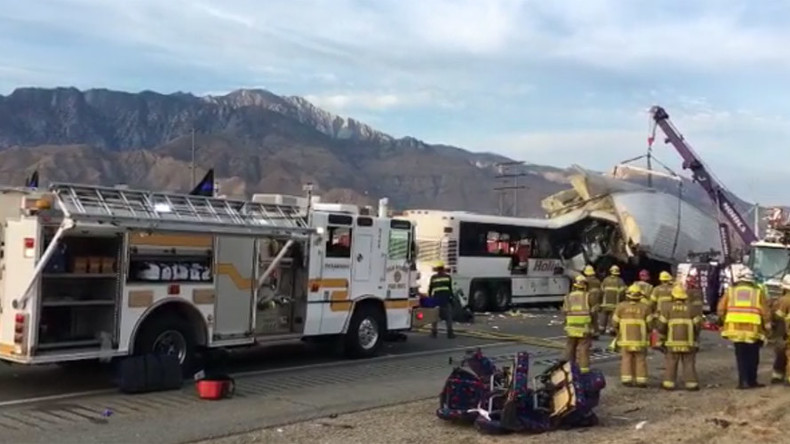 13 dead after tour bus crashes with semi-trailer truck in Palm Springs (PHOTOS)