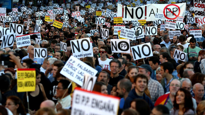 Hundreds protest in Madrid against PM Rajoy's re-election (VIDEO, PHOTOS)
