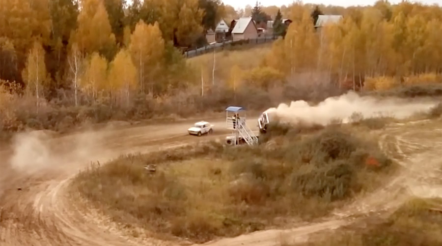 Deadly race in Siberia: Car flips over, rams through marshal post (VIDEO)