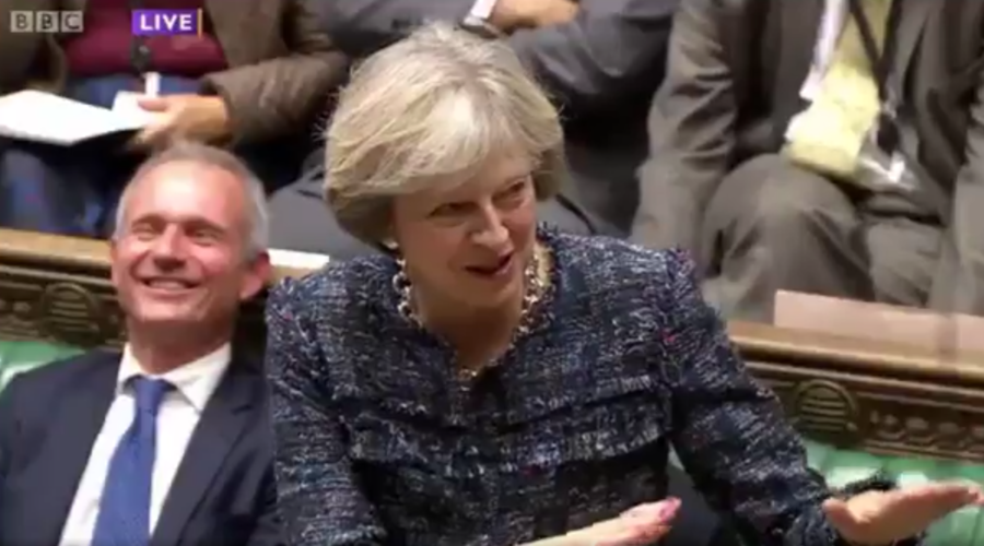 Did she just say that? Theresa May drops sexual innuendo, sends Parliament into fits of giggles