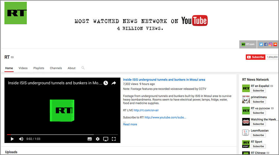 RT hits record 4 billion views on YouTube