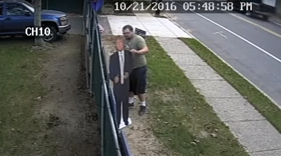 $5k reward for arrest of cardboard Donald Trump thief (PHOTOS, VIDEO)