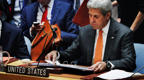 U.S. Secretary of State John Kerry reacts in the United Nations Security Counci © Lucas Jackson