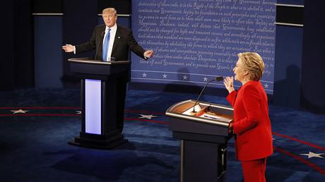 Republican U.S. presidential nominee Donald Trump and Democratic U.S. presidential nominee Hillary Clinton during their first presidential debate at Hofstra University in Hempstead, New York, September 26, 2016. ©Rick Wilking