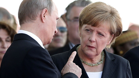Russian President Vladimir Putin talks with German Chancellor Angela Merkel. File photo. © Kevin Lamarque