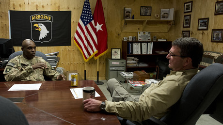 Deputy Secretary of Defense Ashton Carter speaks with Regional Command East deputy commander Brigadier General Ron Lewis on Nov. 28, 2013 © OSD Deputy Secretary of Defense
