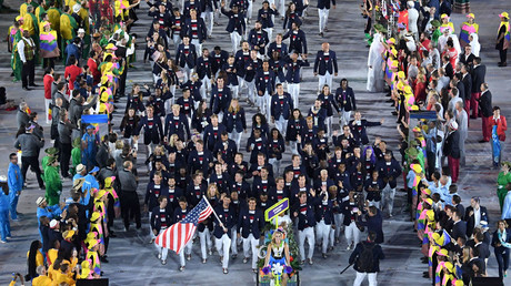 The United States of America Olympic team enters Maracana during the opening ceremony. © Richard Heathcote