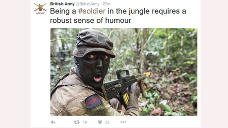 Twitter loses it over British Army 'blackface' tweet