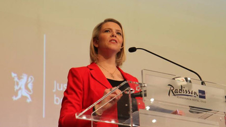 Listhaug delivers her speech on immigrant integration earlier this week. © Sylvi Listhaug