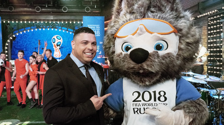 Brazilian football legend Ronaldo with Zabivaka the Wolf, the 2018 FIFA World Cup official mascot, at the mascot's unveiling ceremony © FIFA