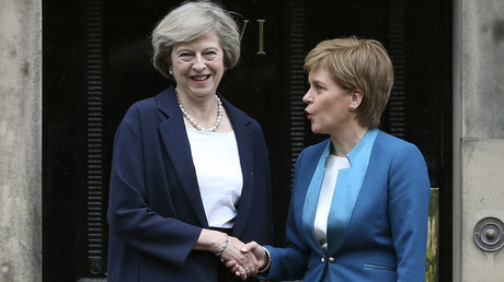 Scotland's First Minister, Nicola Sturgeon (R), greets Britain's new Prime Minister, Theresa May. © Russell Cheyne