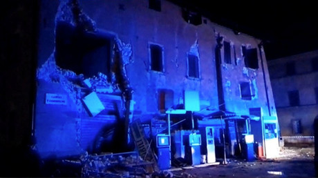 Still image from video shows damaged building after an earthquake in Visso, Italy October 26, 2016. ©Reuters Tv