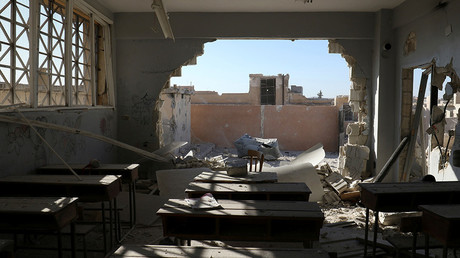A damaged classroom is pictured after shelling in the rebel held town of Hass, south of Idlib province, Syria October 26, 2016 © Ammar Abdullah