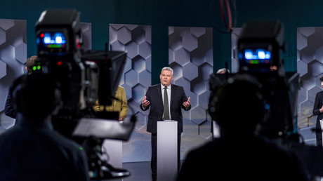 Prime Minister Sigmurdur Ingi Johannsson of the Progressive Party takes part in a debate ahead of parliamentary elections in Iceland, October 28, 2016. © Geirix
