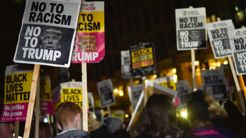 Anti-Trump protesters clash with far-right EDL at London's US Embassy