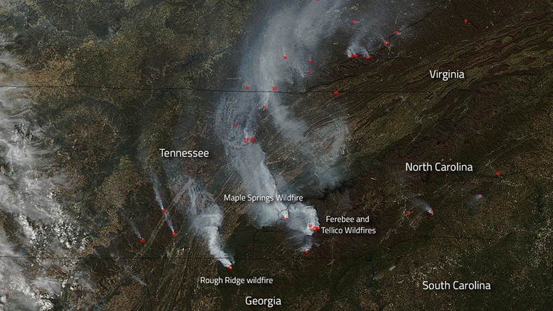 Spread of southeast wildfires captured from space (PHOTOS)