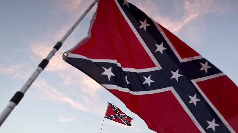 Michigan cop suspended for taunting anti-Trump rally with Confederate flag