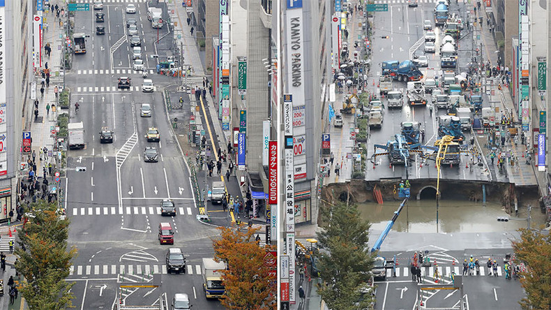 Giant Japanese sinkhole fixed in 48hrs as city gets back on track (PHOTOS)