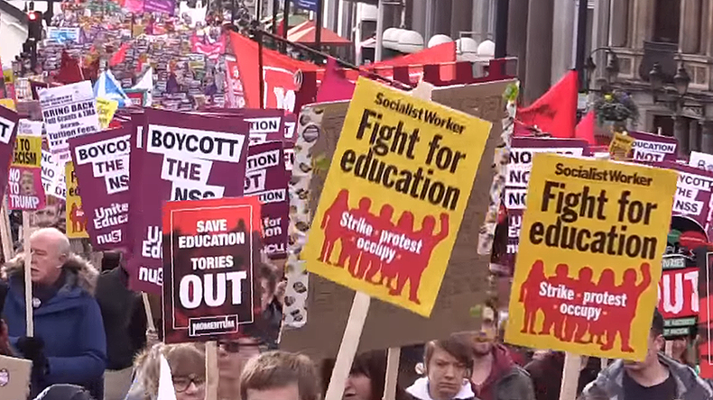 'Students' future for sale': Thousands march against education cuts in London