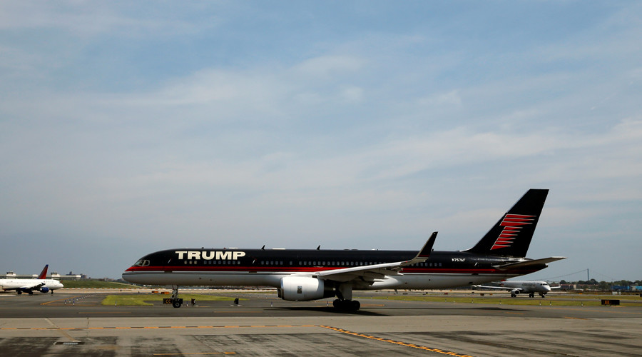 Trump's plane given water cannon salute at NY airport he slammed during campaign (VIDEO)