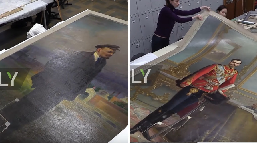 Last Russian tsar's portrait survives for almost 100 years on back of Lenin painting (VIDEO)