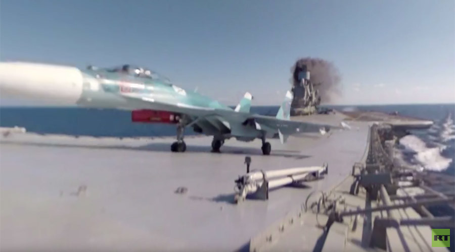 Watch Su-33 fighter take off Russian carrier 'Kuznetsov' in majestic 360 video (RT EXCLUSIVE)