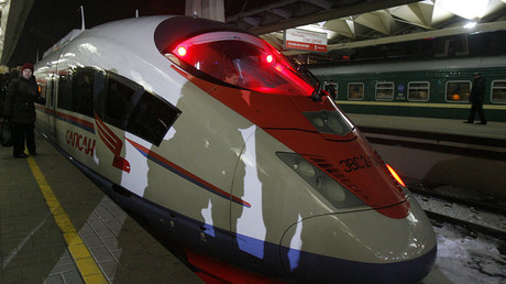 The Sapsan high speed train is pictured in Moscow © Sergei Karpukhin