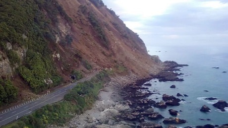 A handout photo taken and received on November 14, 2016, show earthquake damage to State Highway One near Ohau Point on the South Island's east coast. © Ohau Point