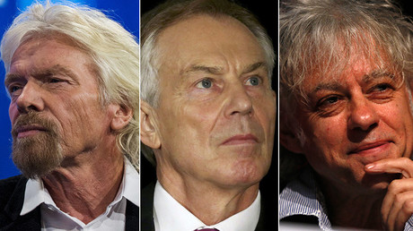 Richard Branson, Tony Blair and Bob Geldof © Reuters