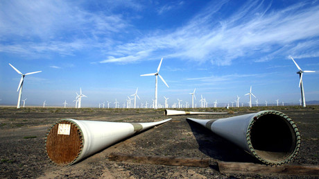 A new turbine waits to be assembled at the Dabancheng Wind Power Plant in the central part of China's Xinjiang Uighur Autonomous Region © Andrew Wong