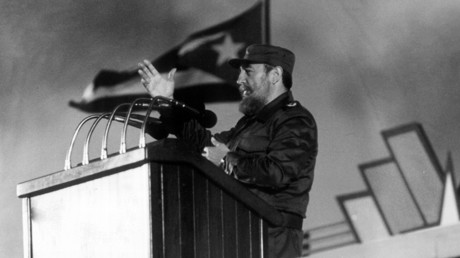 FILE PHOTO: Picture taken 04 January 1988 in Havana of Cuban president Fidel Castro delivering a speech during the 30th Anniversary of the Cuban Revolution © AFP